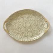 small oval tray with handles fleur de lis mocha