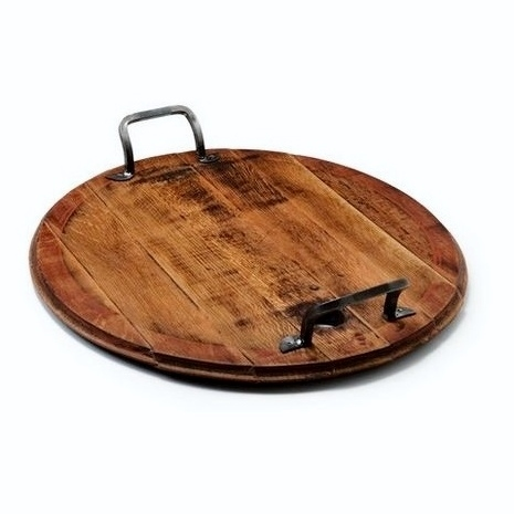Vintage Oak Platter With Handles And Lazy Susan
