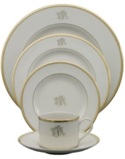 White Signature Dinner Plate with Monogram