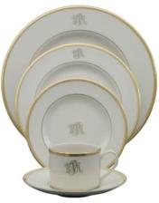 White Signature Salad Plate with Monogram
